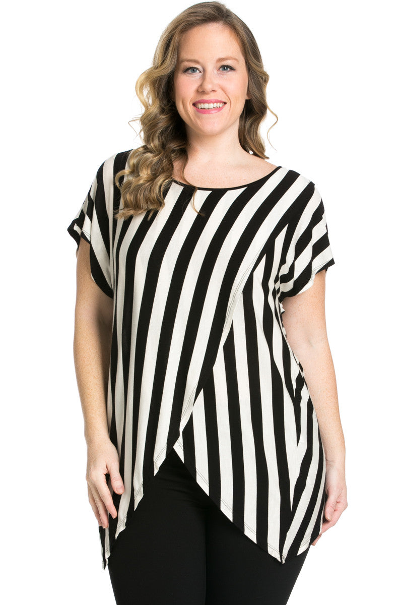 Striped Wrap Up Plus Size Top Black - top - My Yuccie - 1