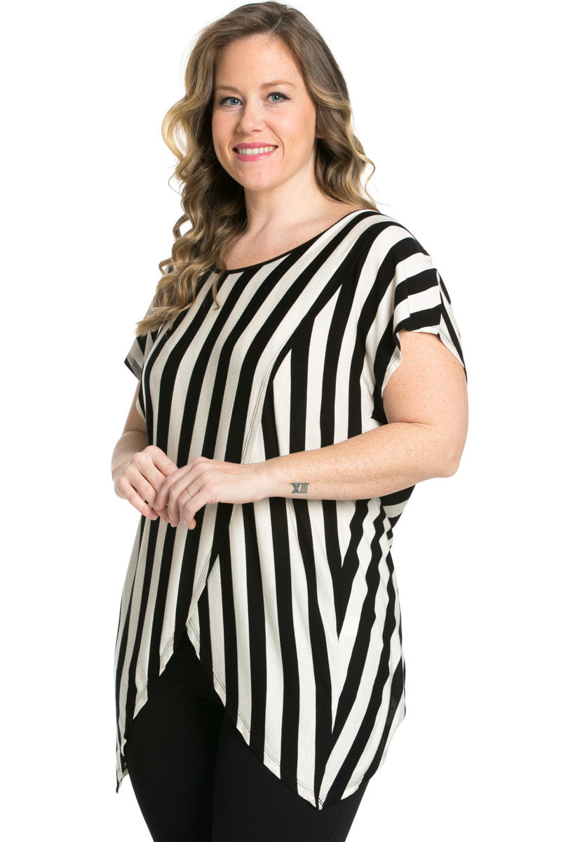 Striped Wrap Up Plus Size Top Black - top - My Yuccie - 2