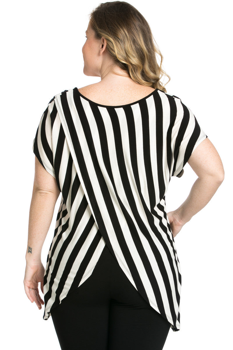 Striped Wrap Up Plus Size Top Black - top - My Yuccie - 3