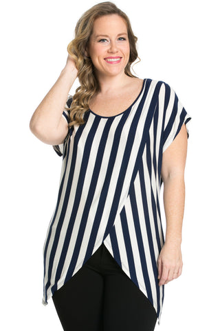 Striped Wrap Up Plus Size Top Navy - top - My Yuccie - 1