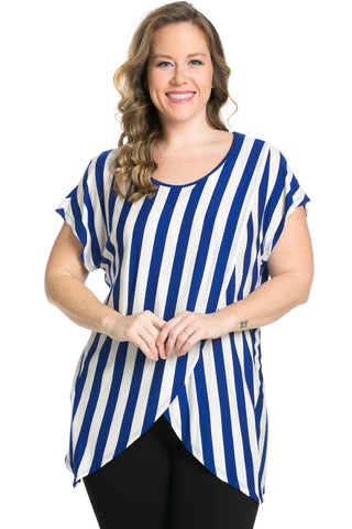 Striped Wrap Up Plus Size Top Royal Blue - top - My Yuccie - 1