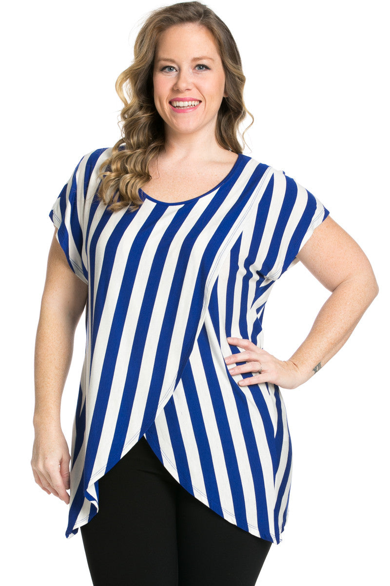 Striped Wrap Up Plus Size Top Royal Blue - top - My Yuccie - 2