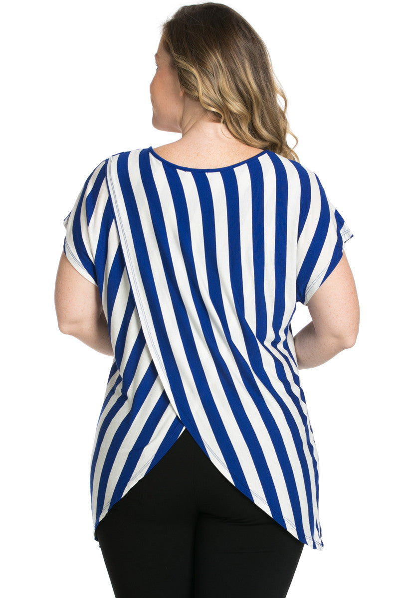 Striped Wrap Up Plus Size Top Royal Blue - top - My Yuccie - 4