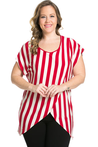 Striped Wrap Up Plus Size Top Red - top - My Yuccie - 1