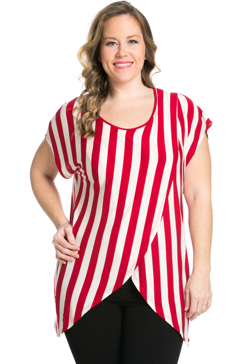 Striped Wrap Up Plus Size Top Red - top - My Yuccie - 2