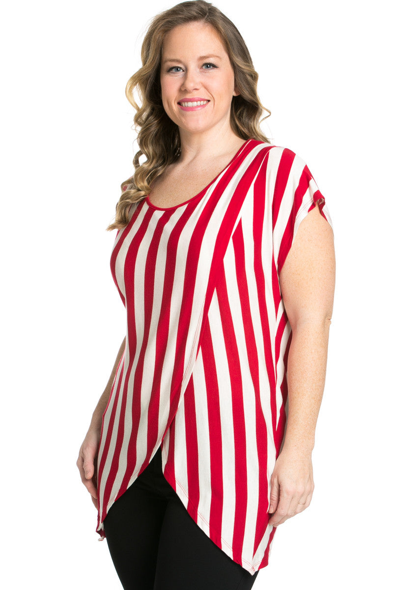 Striped Wrap Up Plus Size Top Red - top - My Yuccie - 3