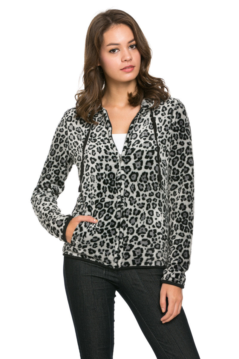 Women's Animal Printed Full Zip Fleece Hoodie Jacket Leopard - Jacket - My Yuccie - 1