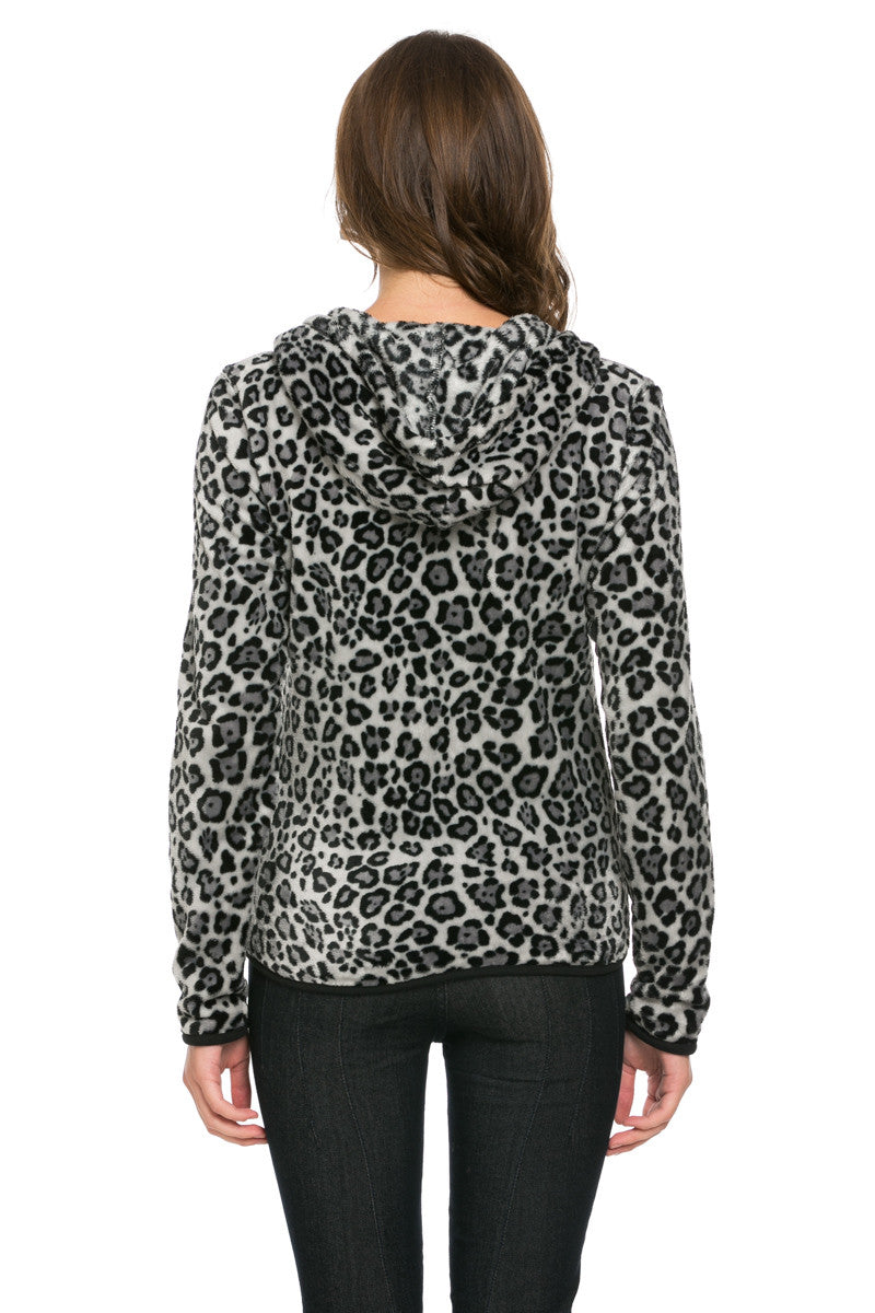 Women's Animal Printed Full Zip Fleece Hoodie Jacket Leopard - Jacket - My Yuccie - 3
