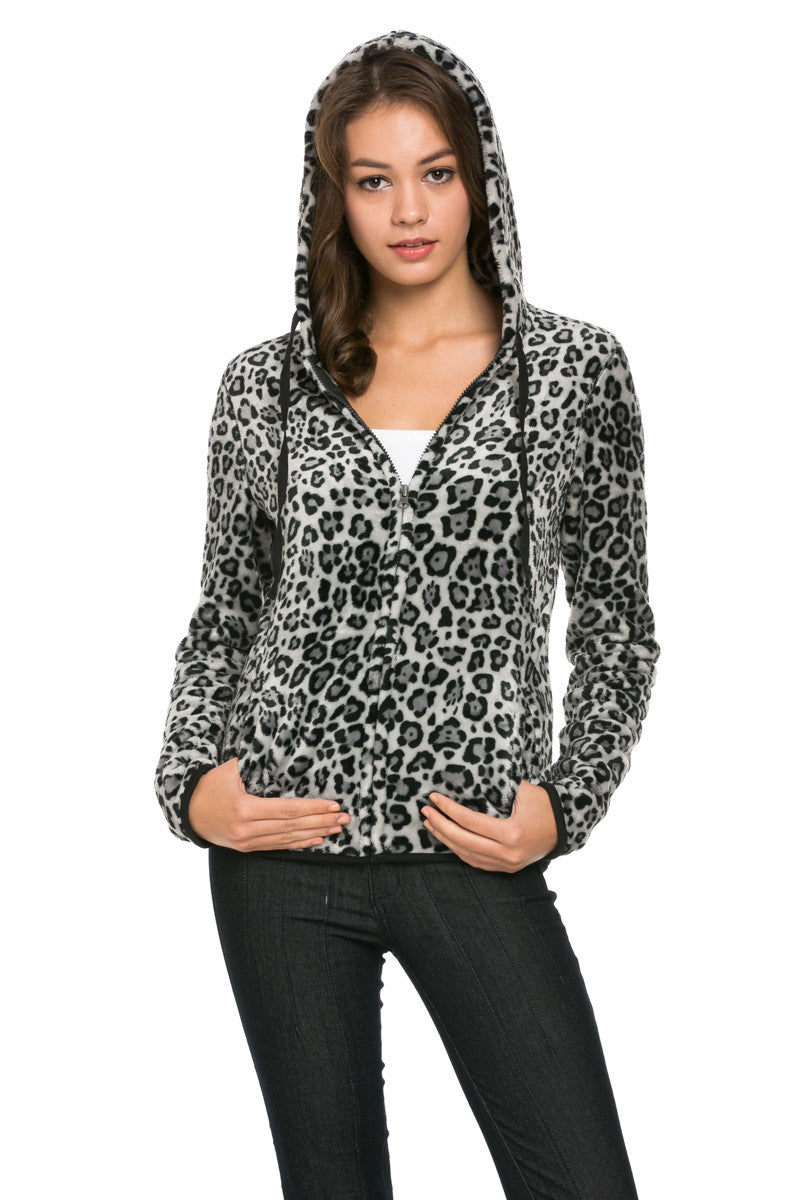 Women's Animal Printed Full Zip Fleece Hoodie Jacket Leopard - Jacket - My Yuccie - 4