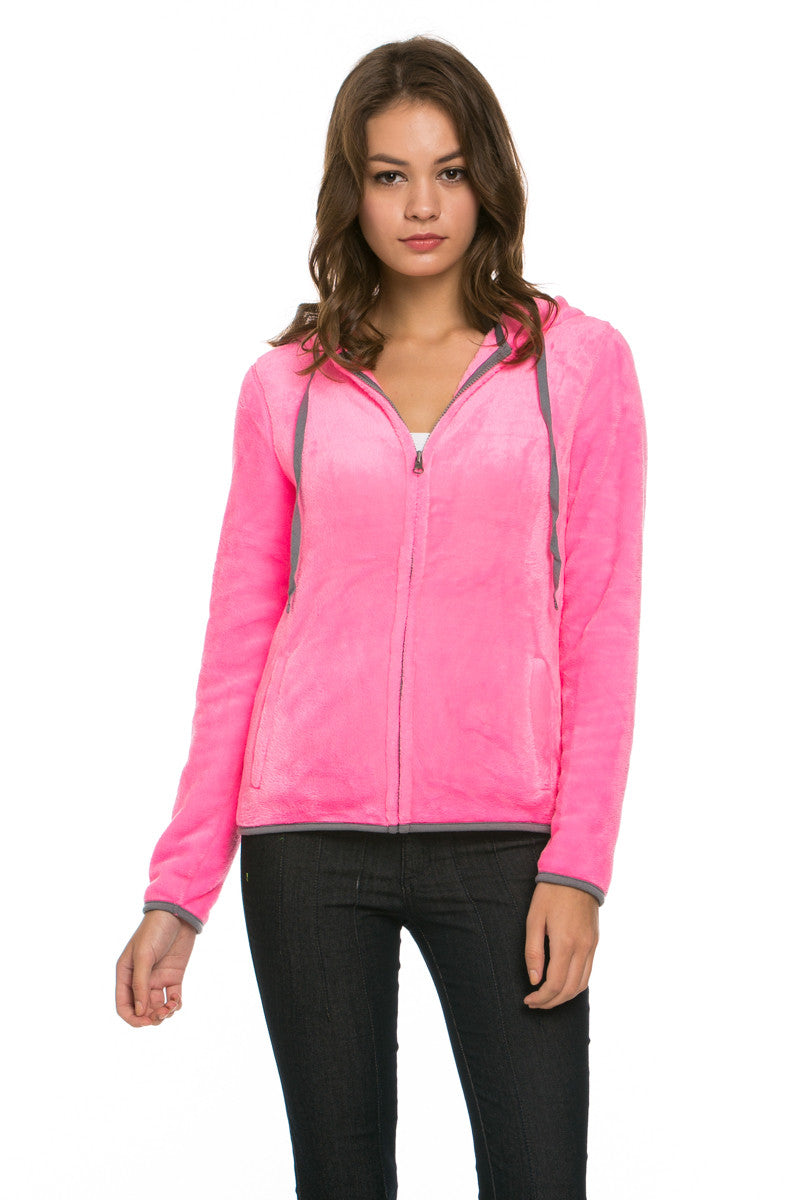 Women's Full Zip Fleece Hoodie Jacket Neon Pink - Jacket - My Yuccie - 1