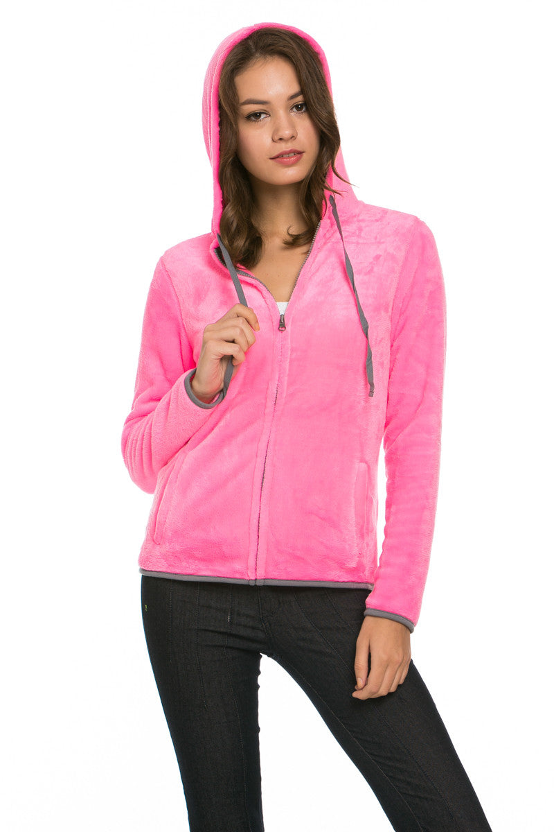Women's Full Zip Fleece Hoodie Jacket Neon Pink - Jacket - My Yuccie - 2