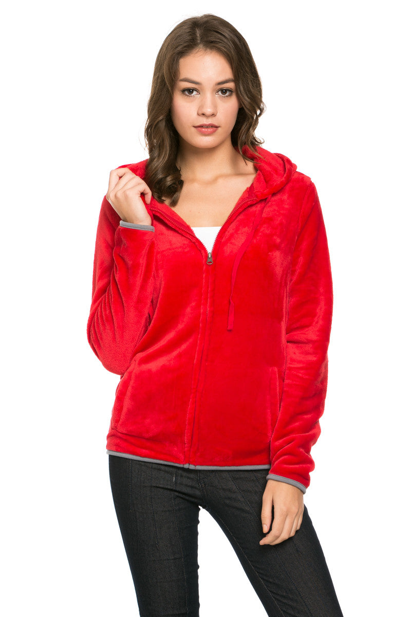 Women's Full Zip Fleece Hoodie Jacket Red - Jacket - My Yuccie - 1