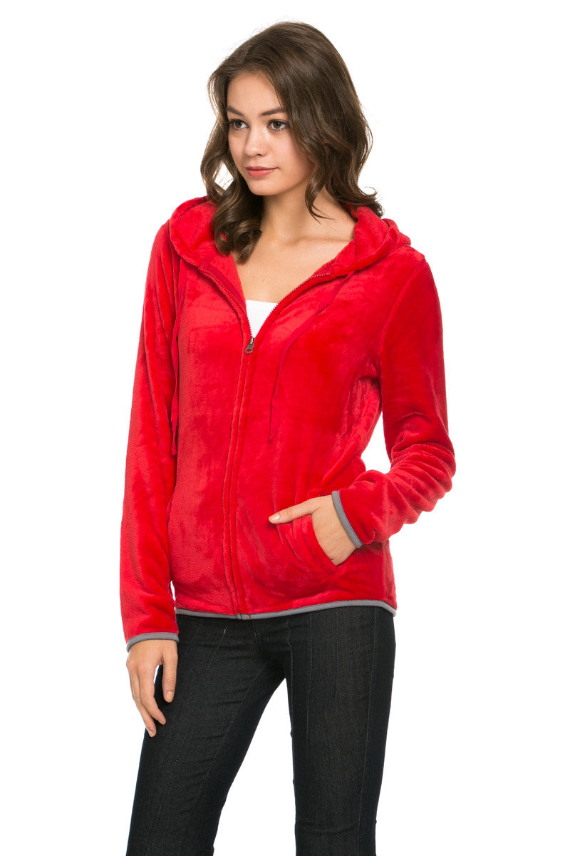 Women's Full Zip Fleece Hoodie Jacket Red - Jacket - My Yuccie - 2