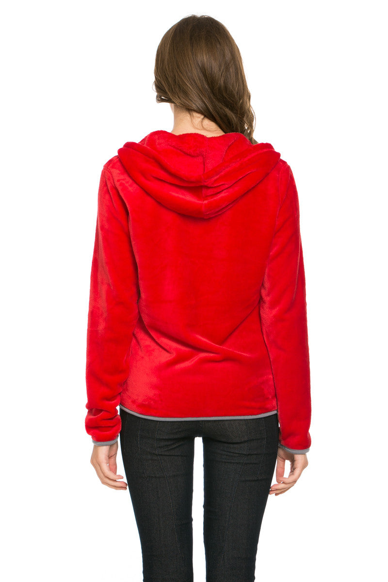 Women's Full Zip Fleece Hoodie Jacket Red - Jacket - My Yuccie - 3