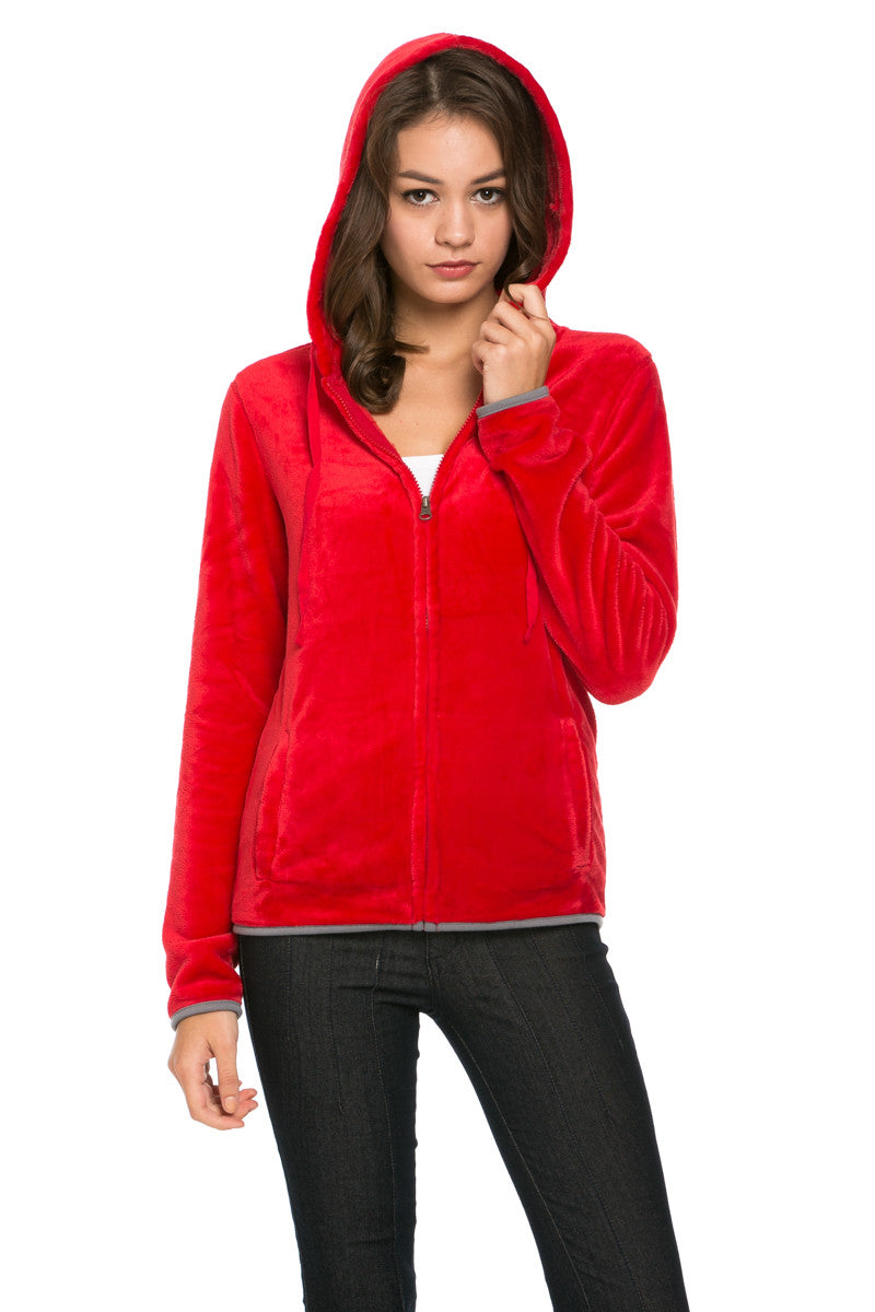 Women's Full Zip Fleece Hoodie Jacket Red - Jacket - My Yuccie - 4