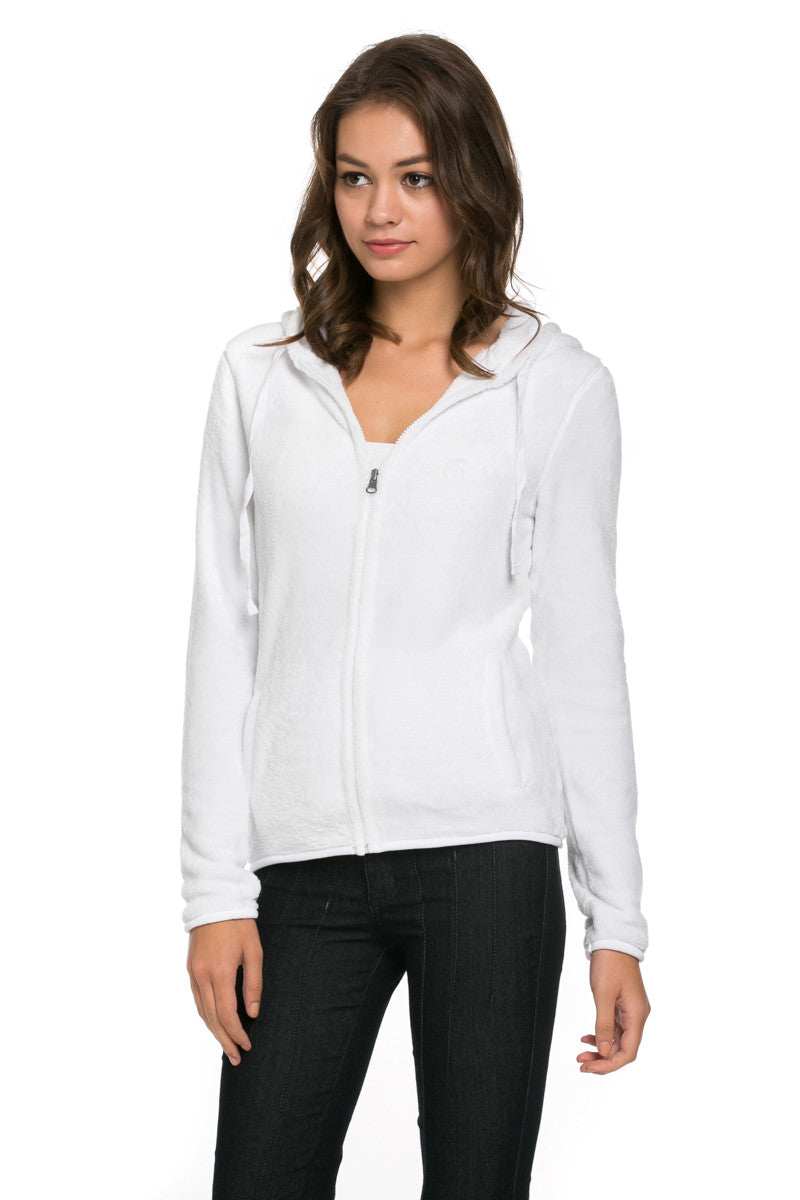 Women's Full Zip Fleece Hoodie Jacket White - Jacket - My Yuccie - 1