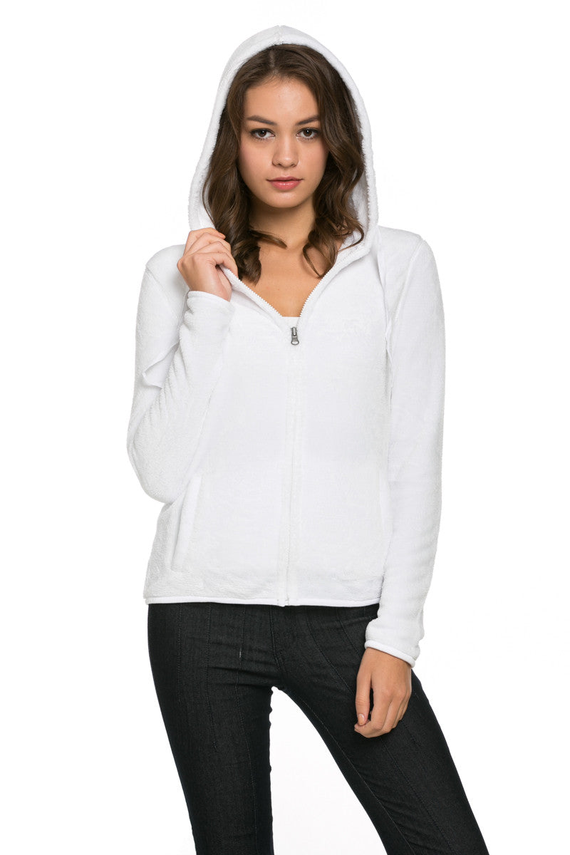 Women's Full Zip Fleece Hoodie Jacket White - Jacket - My Yuccie - 2