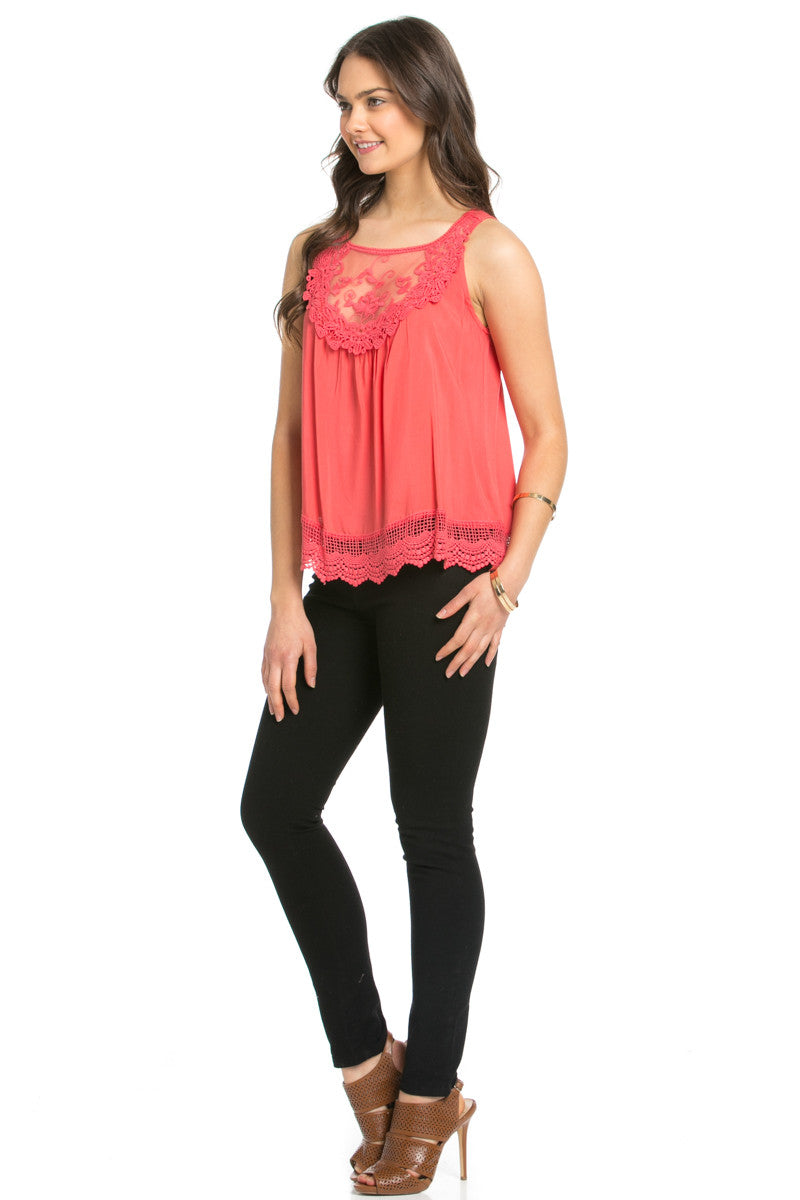 Crochets and Lace Coral Top - Tops - My Yuccie - 11