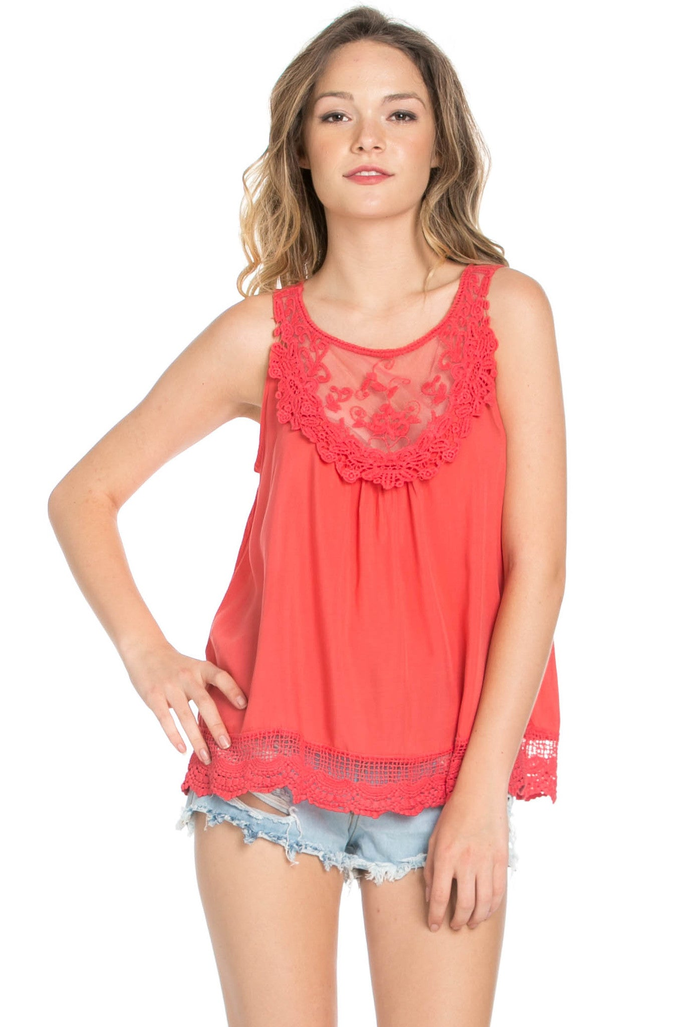 Crochets and Lace Coral Top - Tops - My Yuccie - 2