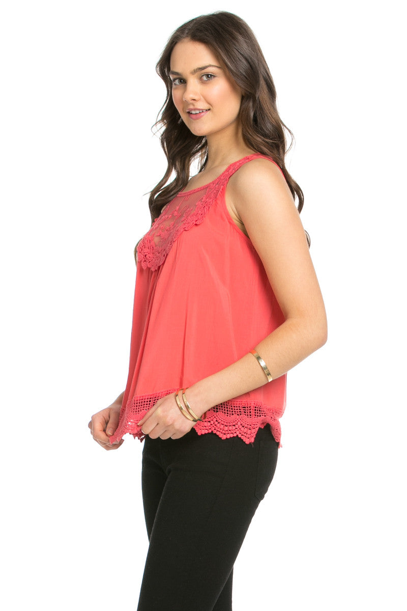Crochets and Lace Coral Top - Tops - My Yuccie - 8