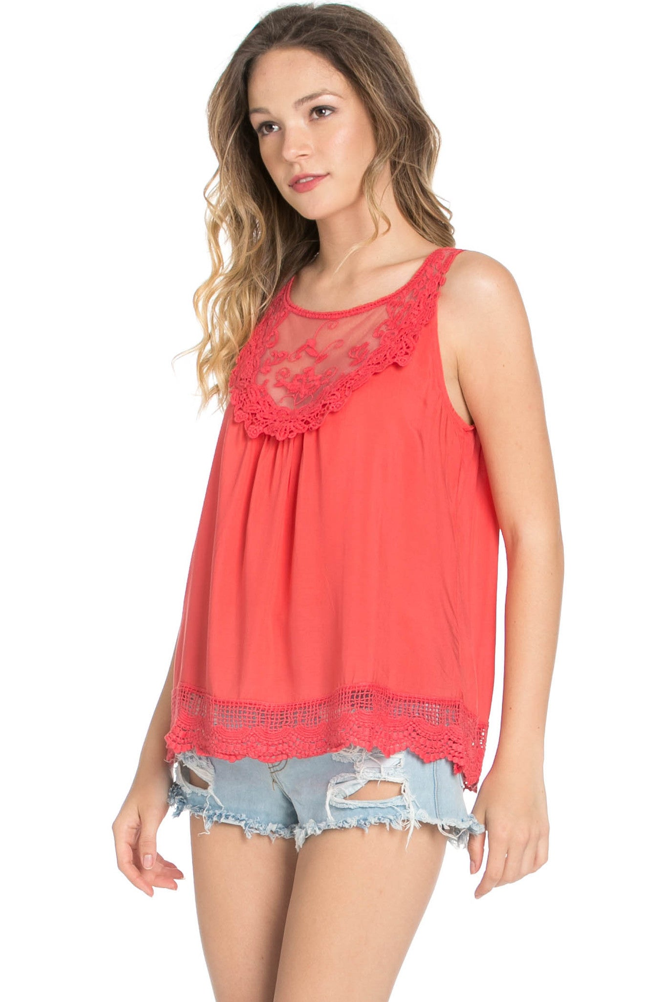 Crochets and Lace Coral Top - Tops - My Yuccie - 3