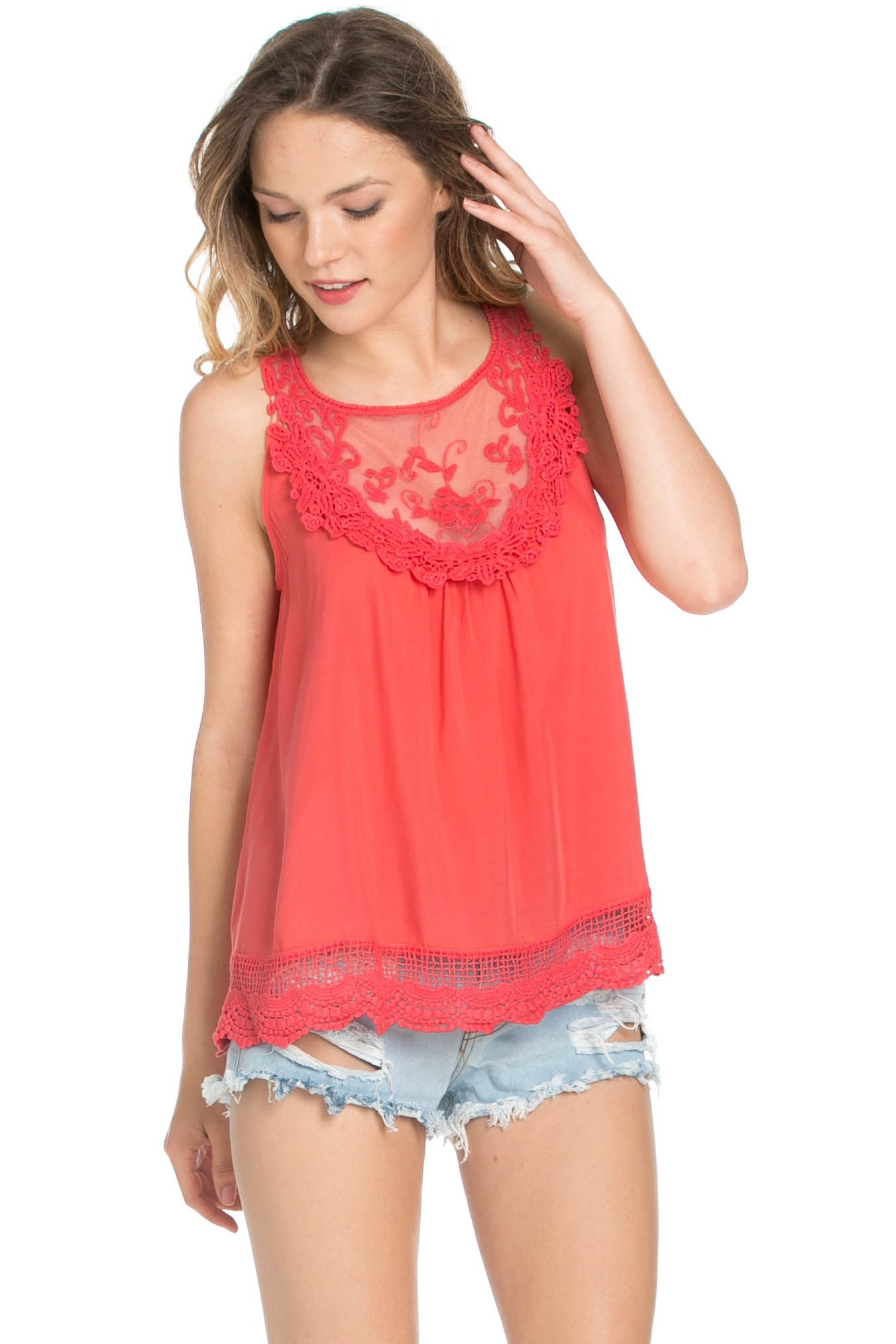Crochets and Lace Coral Top - Tops - My Yuccie - 1