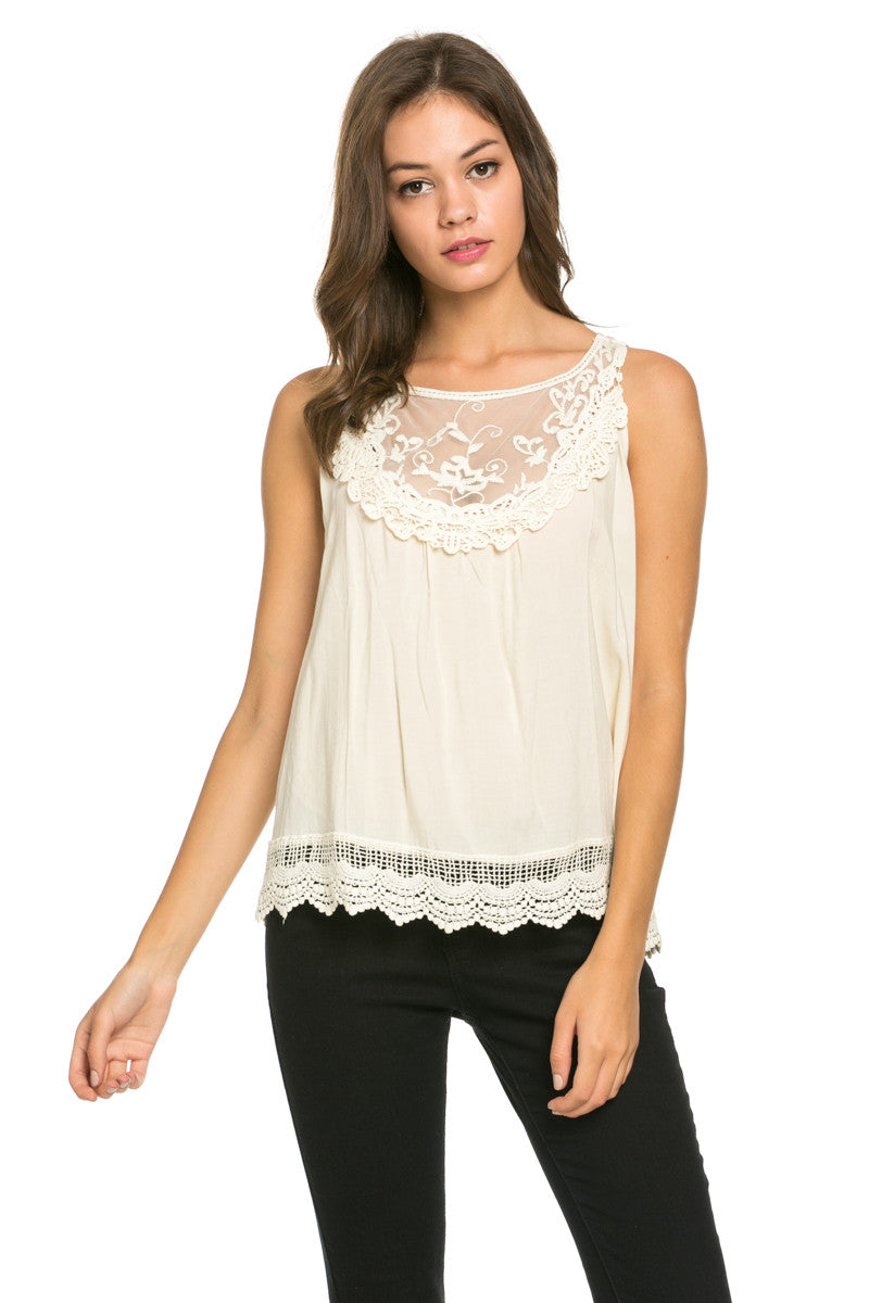 Crochets and Lace Ivory Top - Tops - My Yuccie - 1