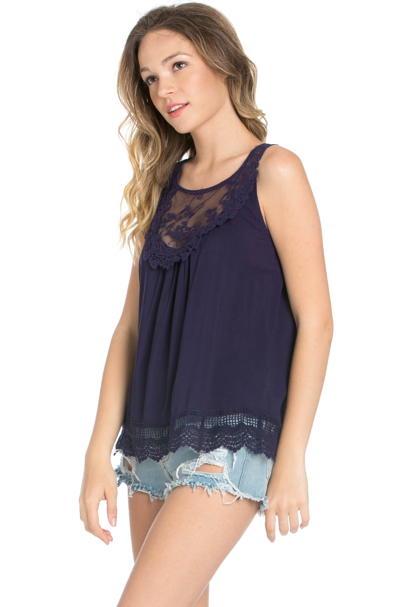 Crochets and Lace Navy Top - Tops - My Yuccie - 2