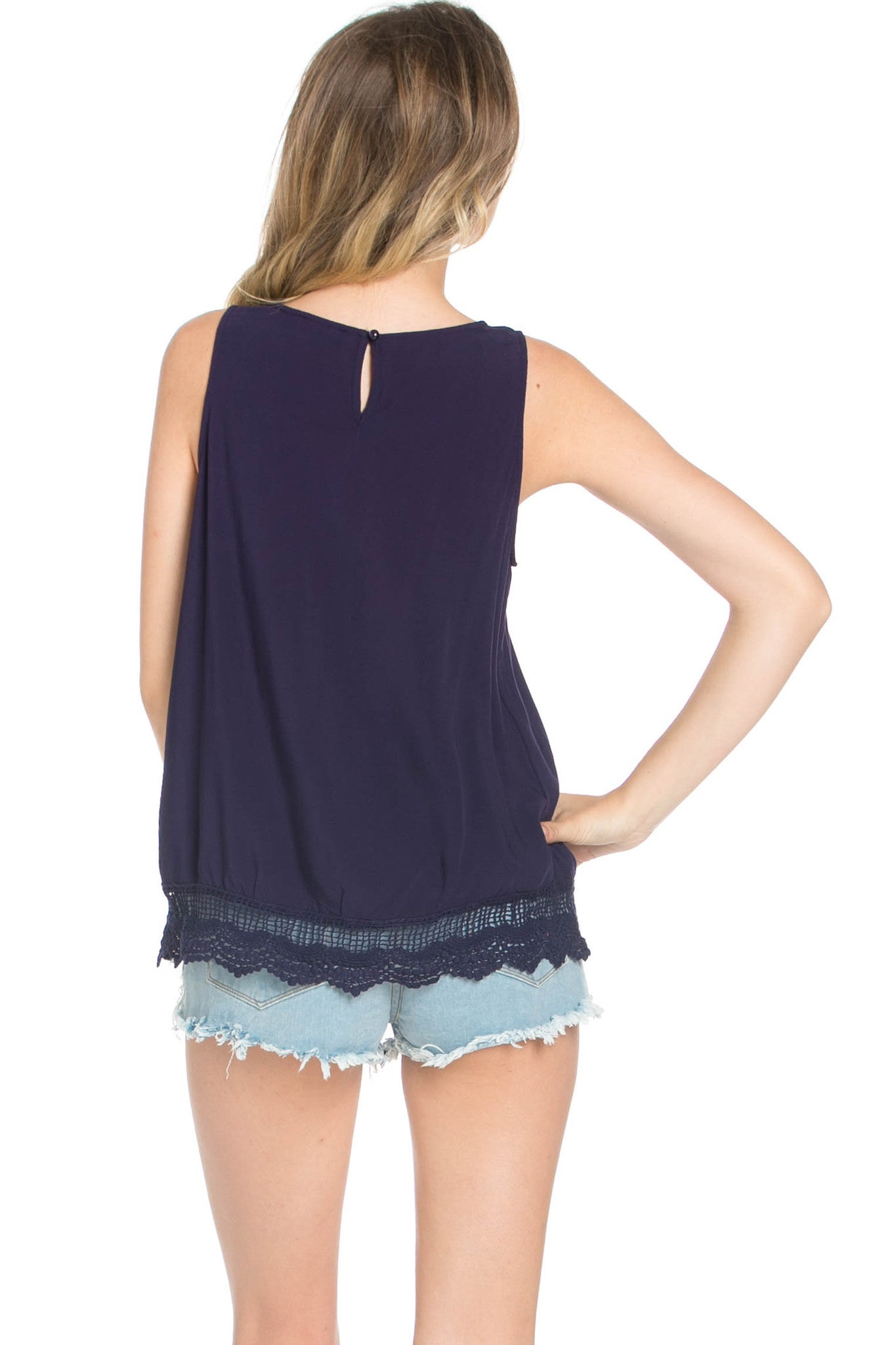 Crochets and Lace Navy Top - Tops - My Yuccie - 3