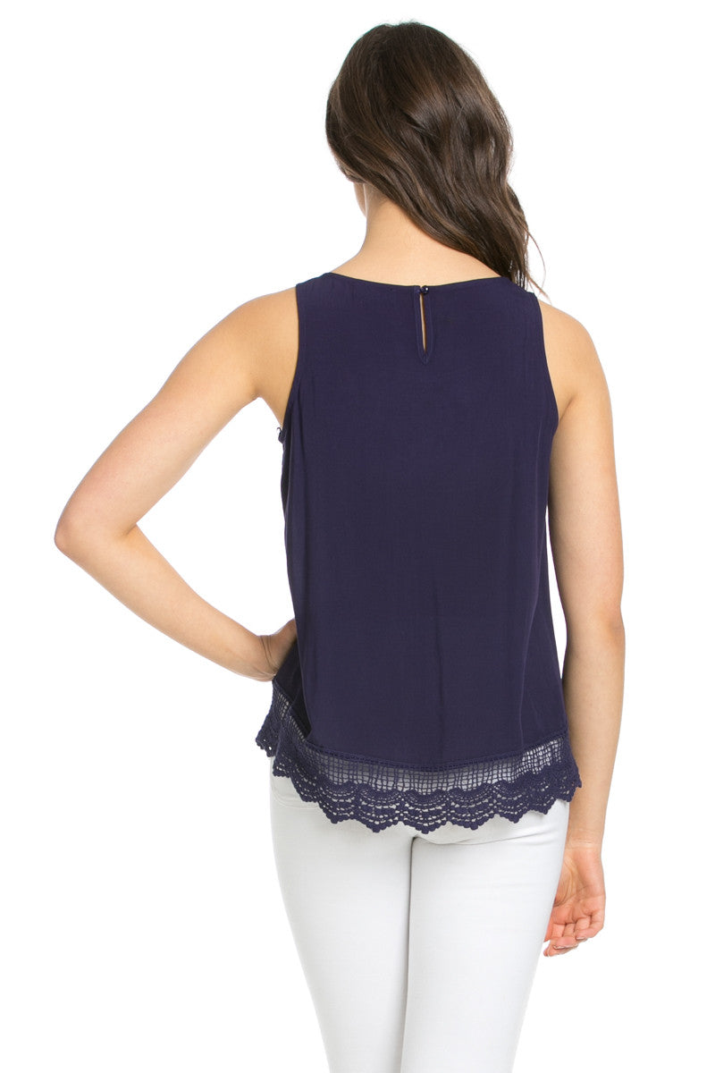 Crochets and Lace Navy Top - Tops - My Yuccie - 9