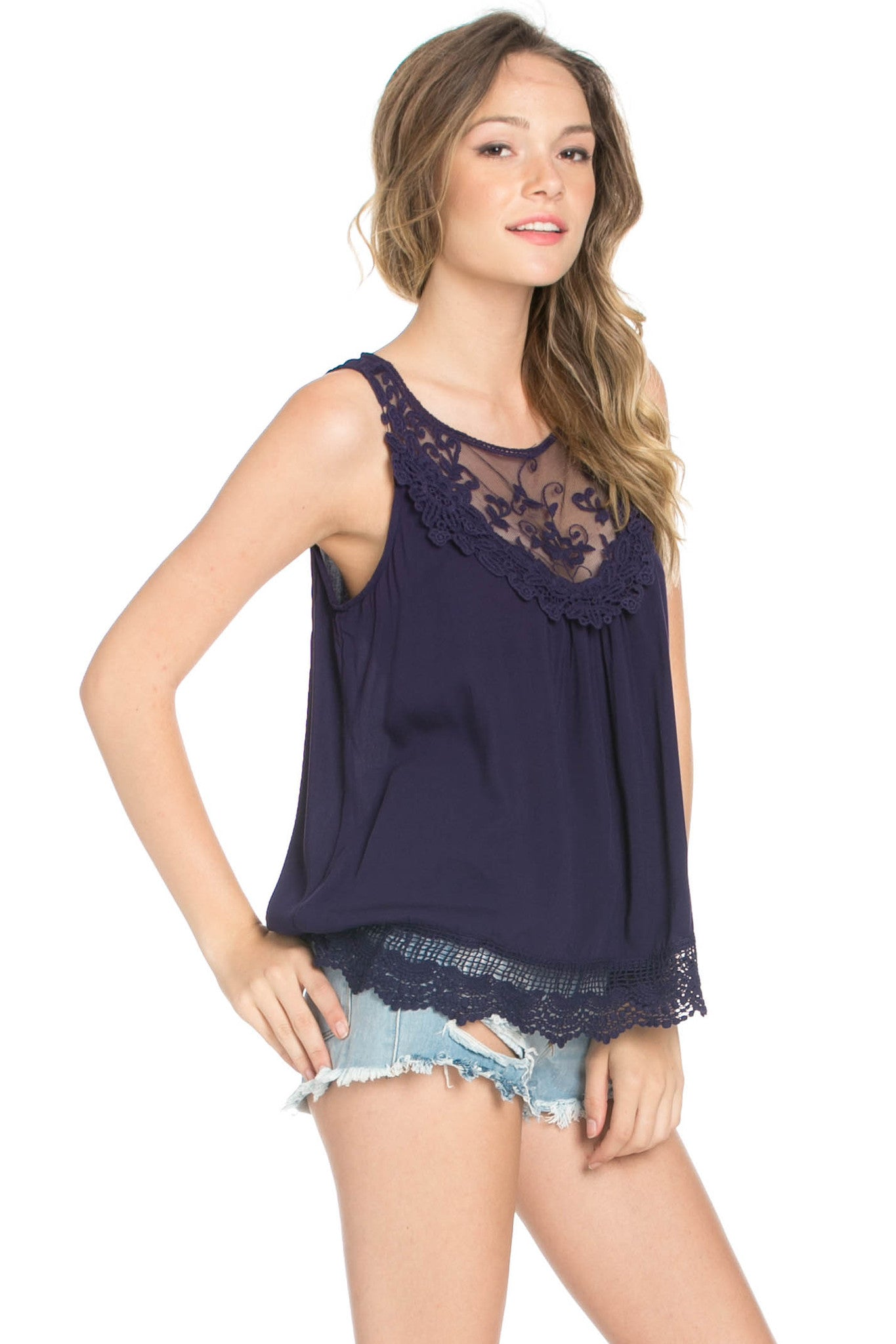 Crochets and Lace Navy Top - Tops - My Yuccie - 4