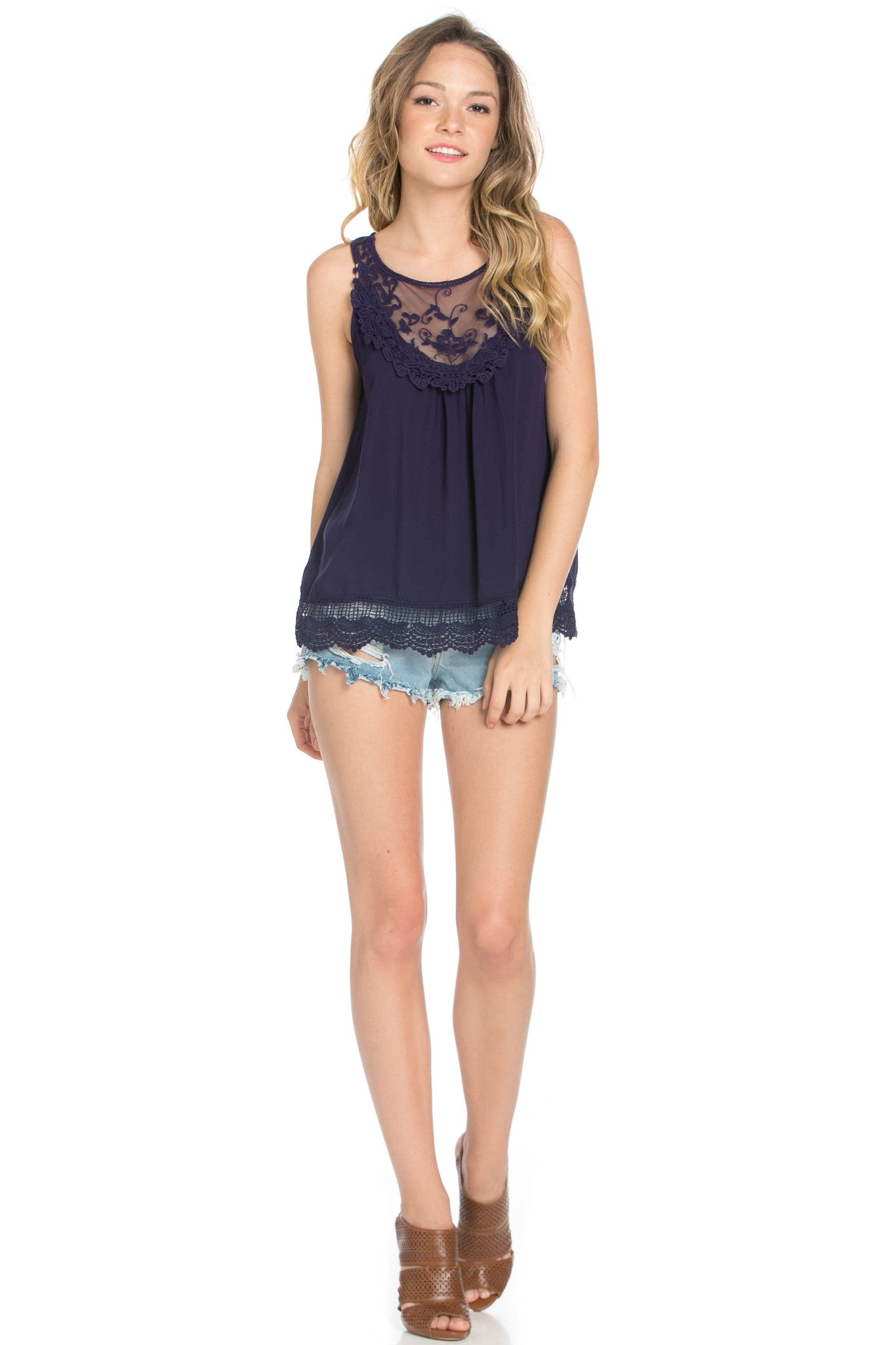 Crochets and Lace Navy Top - Tops - My Yuccie - 6