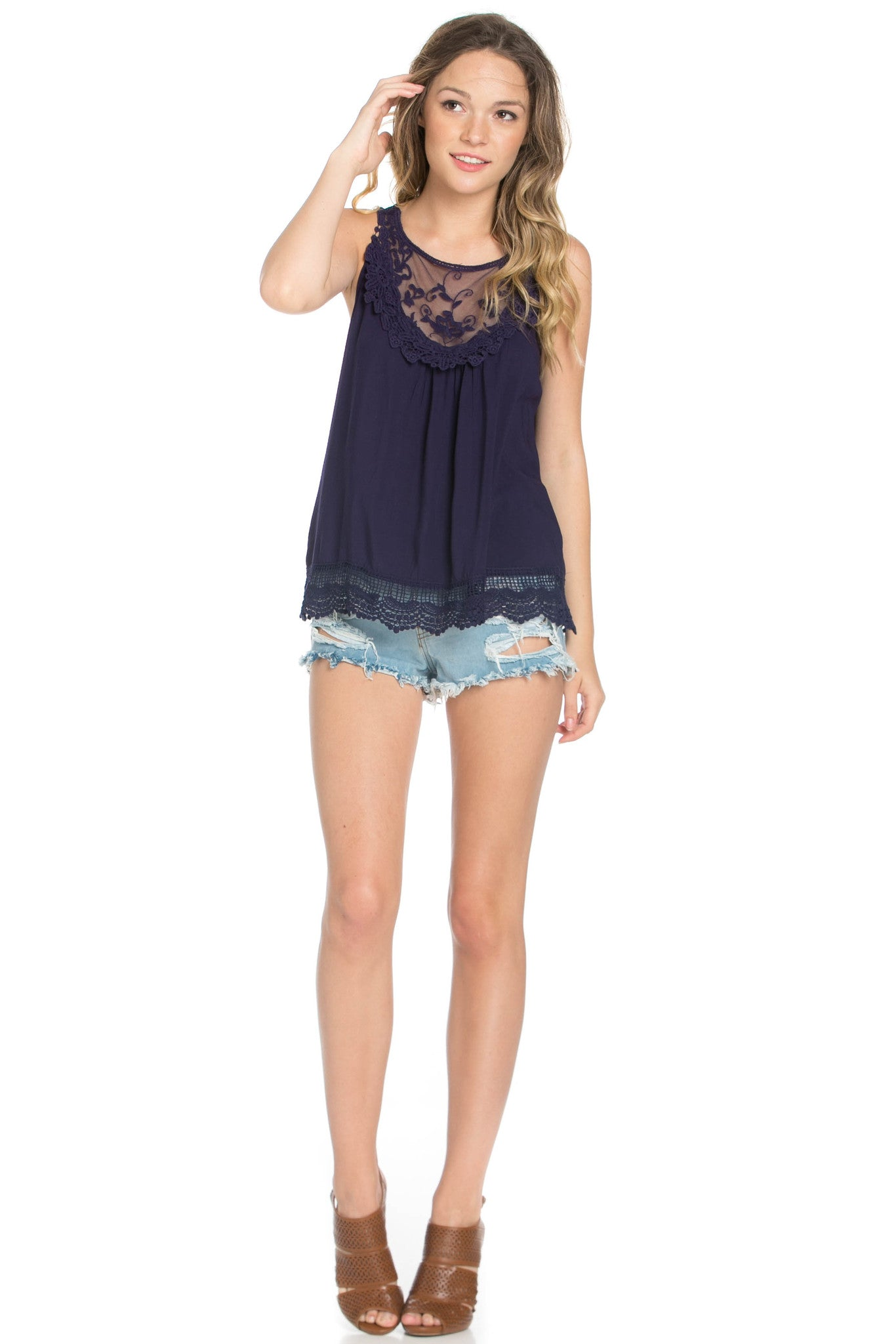 Crochets and Lace Navy Top - Tops - My Yuccie - 5
