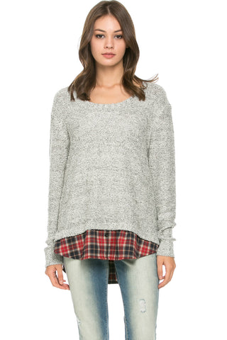 Cozy Sweater Layered on Flannel Grey - Sweaters - My Yuccie - 1