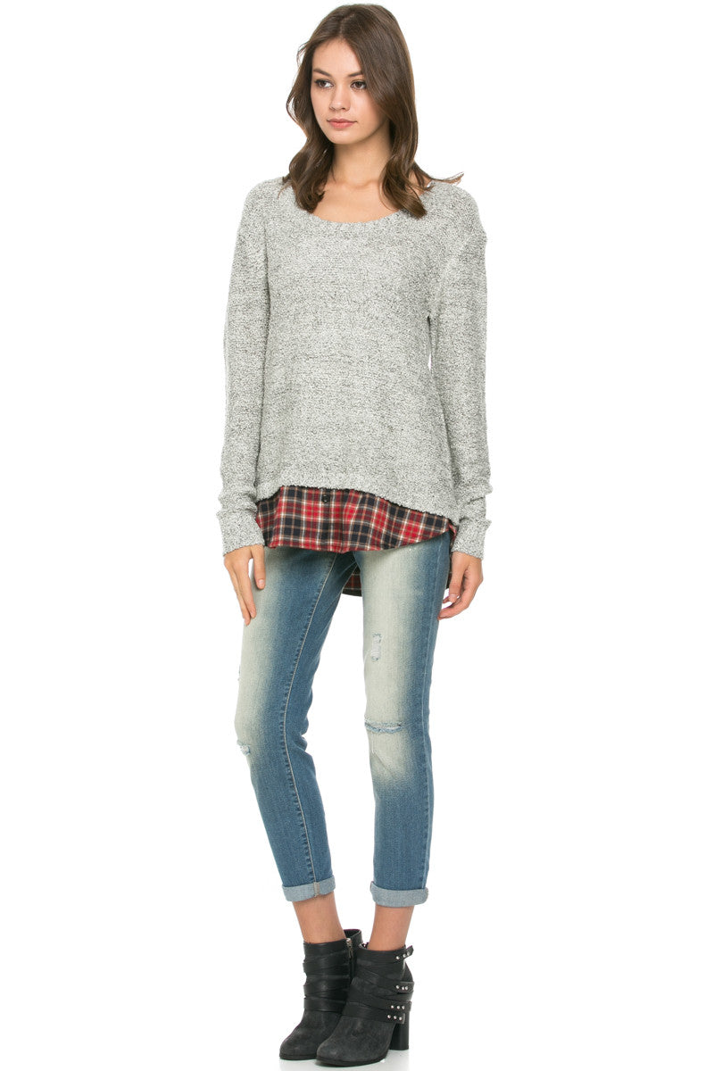 Cozy Sweater Layered on Flannel Grey - Sweaters - My Yuccie - 2