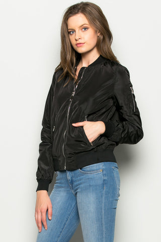 Black Nylon Bomber Jacket - Jacket - My Yuccie - 1