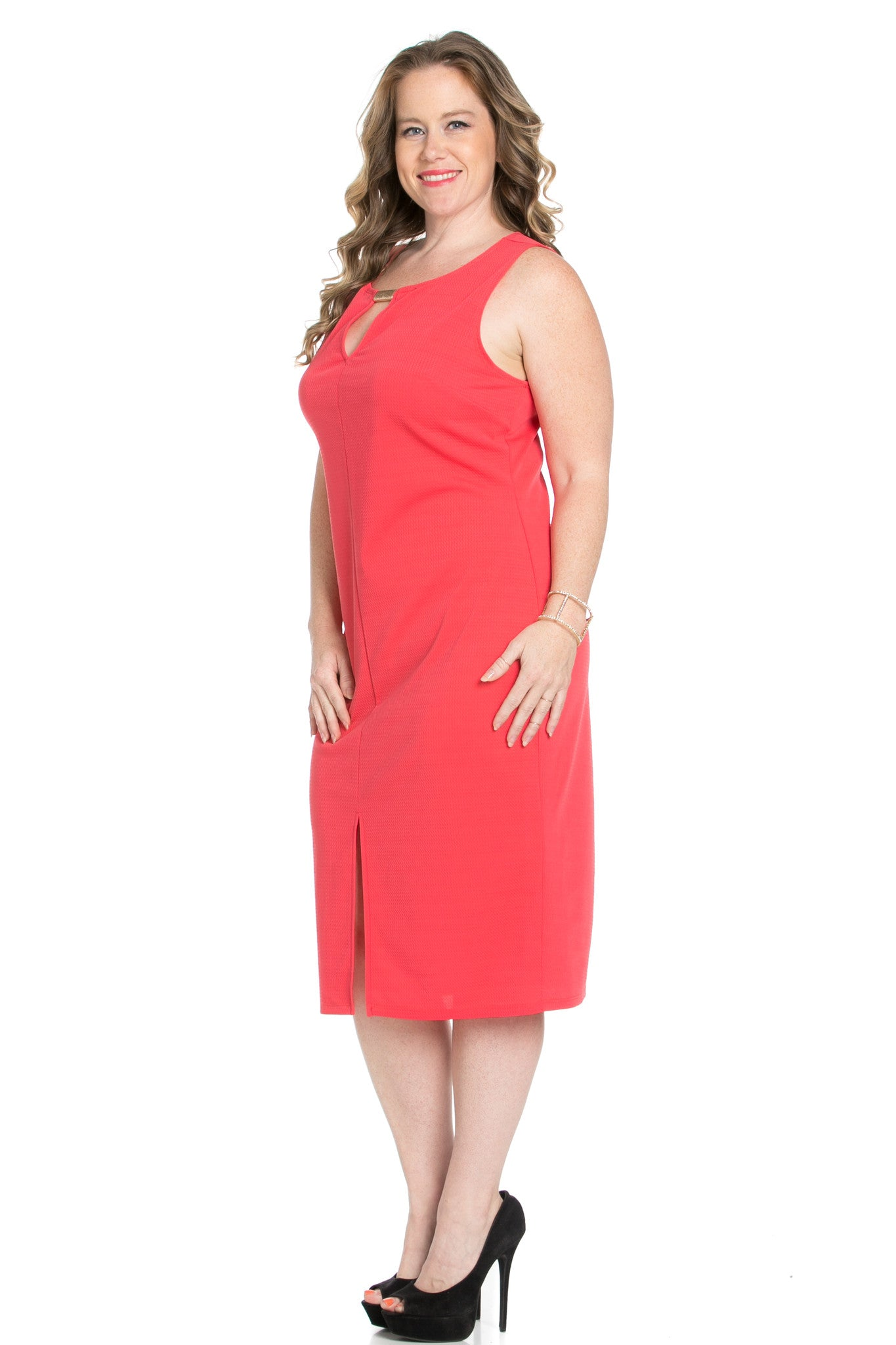 Coral Modest a Bit with Bare Shoulders Dress - Dresses - My Yuccie - 6