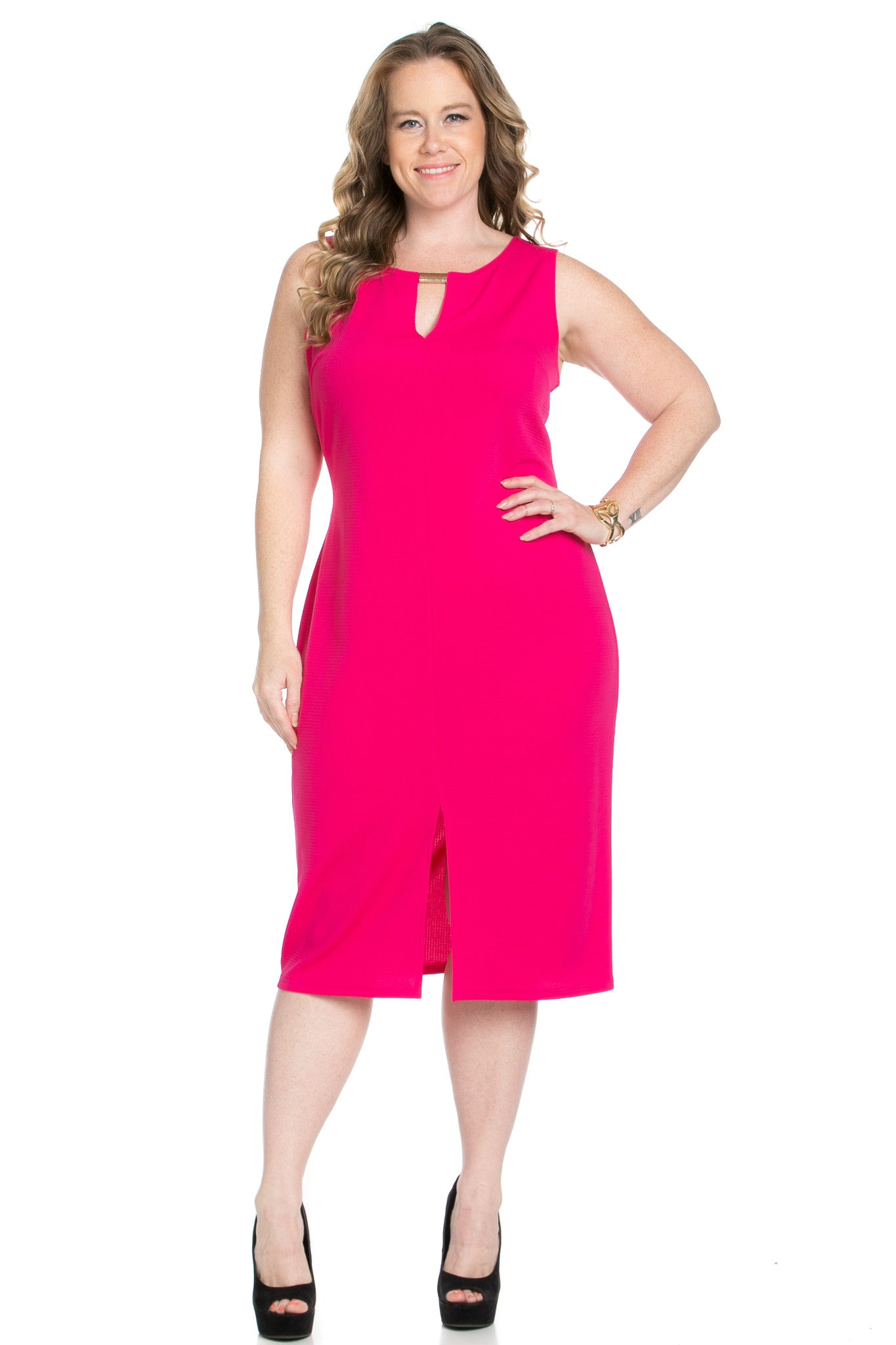 Fuschia Modest a Bit with Bare Shoulders Dress - Dresses - My Yuccie - 2