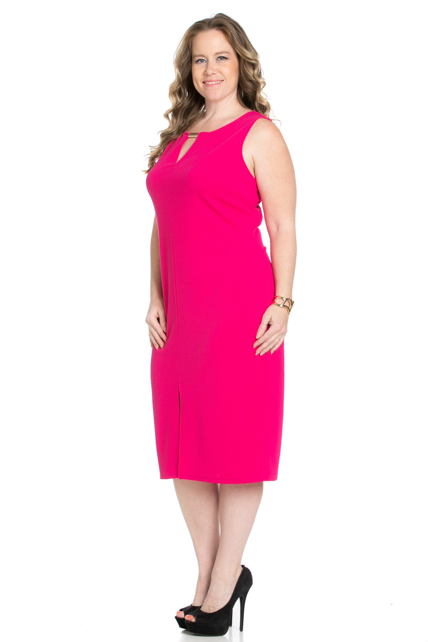 Fuschia Modest a Bit with Bare Shoulders Dress - Dresses - My Yuccie - 3