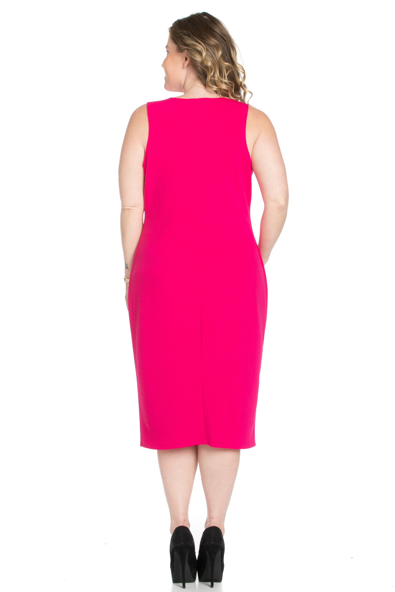 Fuschia Modest a Bit with Bare Shoulders Dress - Dresses - My Yuccie - 4