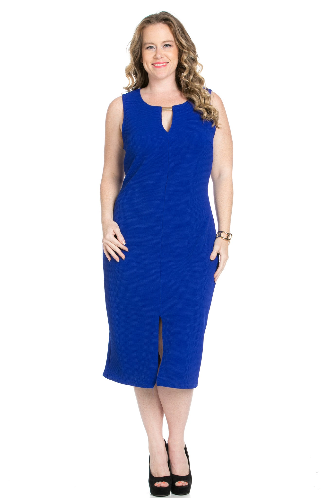 Royal Blue Modest a Bit with Bare Shoulders Dress - Dresses - My Yuccie - 4
