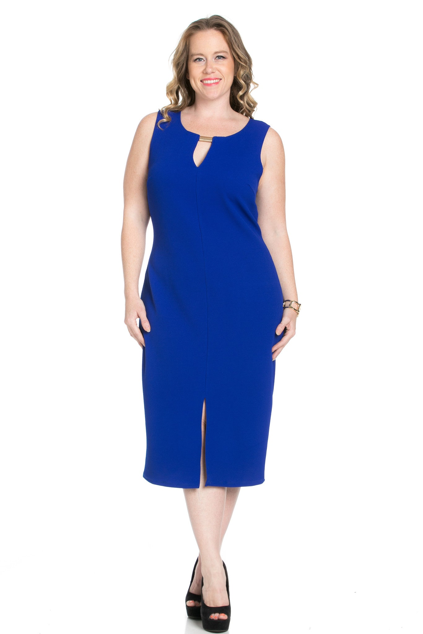 Royal Blue Modest a Bit with Bare Shoulders Dress - Dresses - My Yuccie - 5