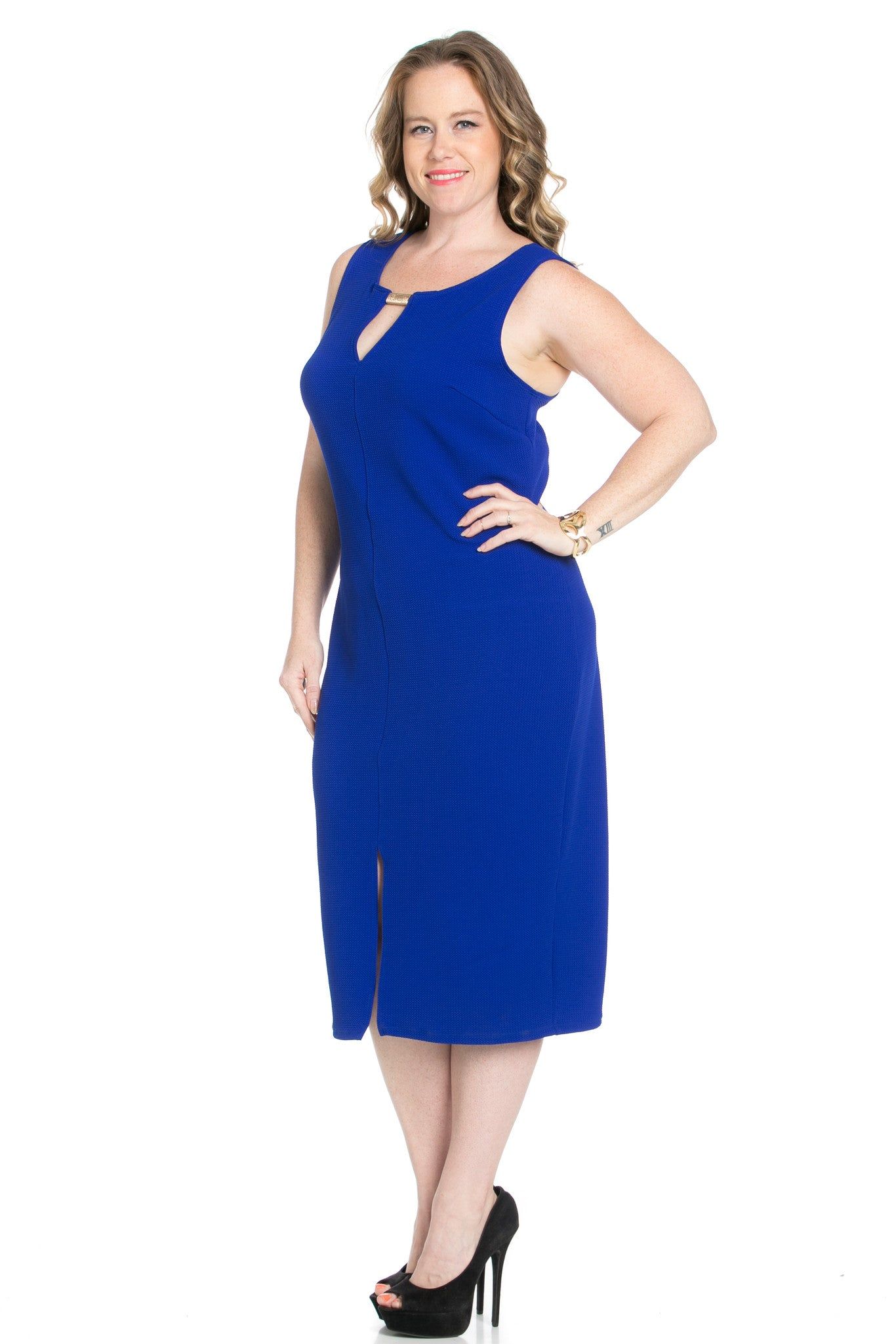 Royal Blue Modest a Bit with Bare Shoulders Dress - Dresses - My Yuccie - 6