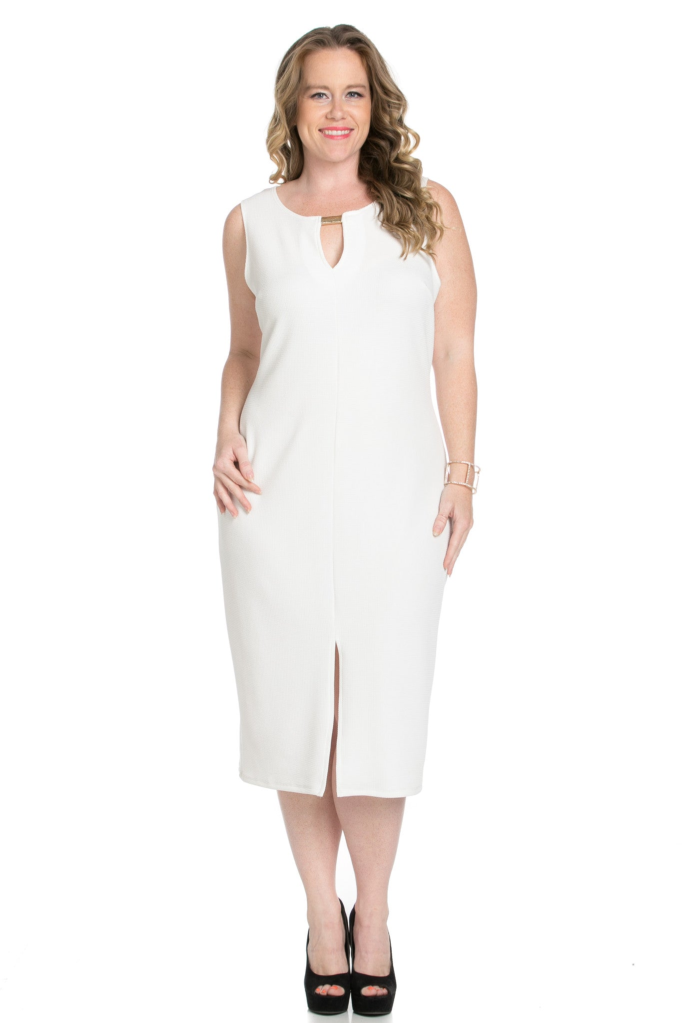 White Modest a Bit with Bare Shoulders Dress - Dresses - My Yuccie - 1