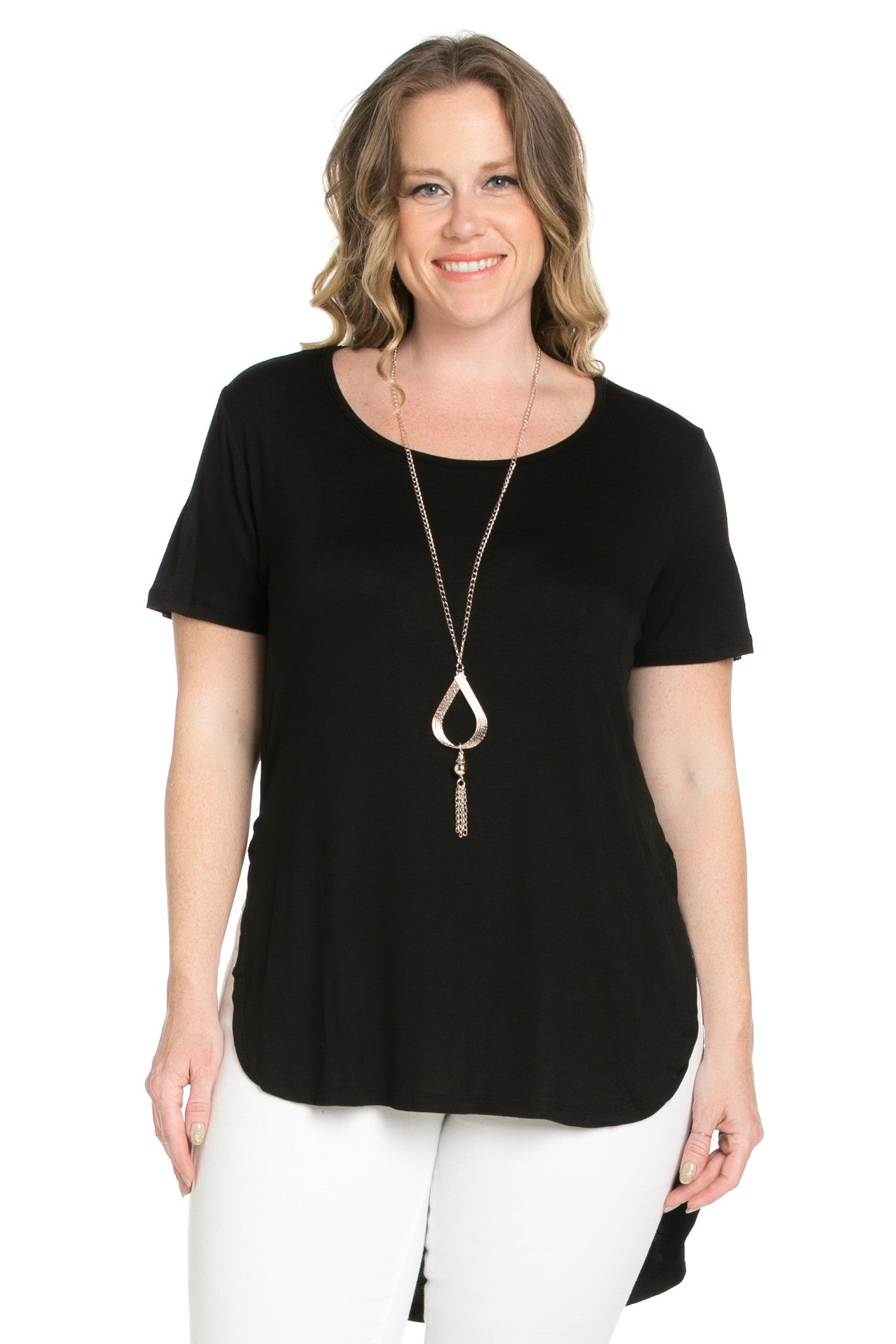 Black Plus Size High-low Scoop Neck Shirt - Blouses - My Yuccie - 6