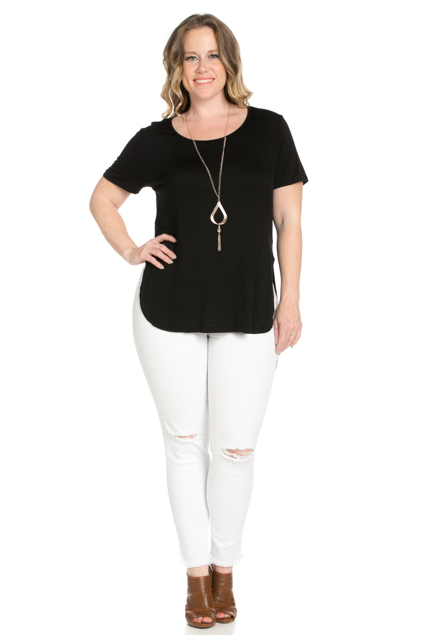 Black Plus Size High-low Scoop Neck Shirt - Blouses - My Yuccie - 7