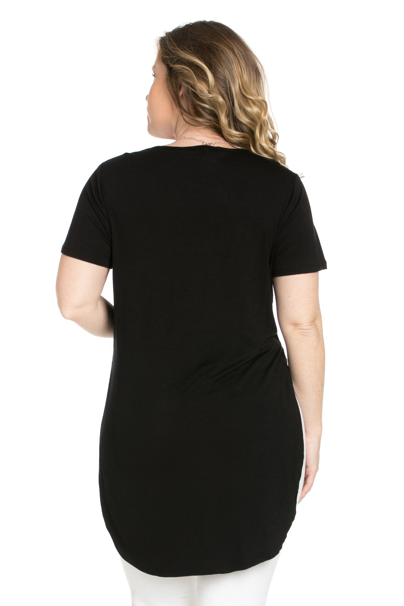 Black Plus Size High-low Scoop Neck Shirt - Blouses - My Yuccie - 8