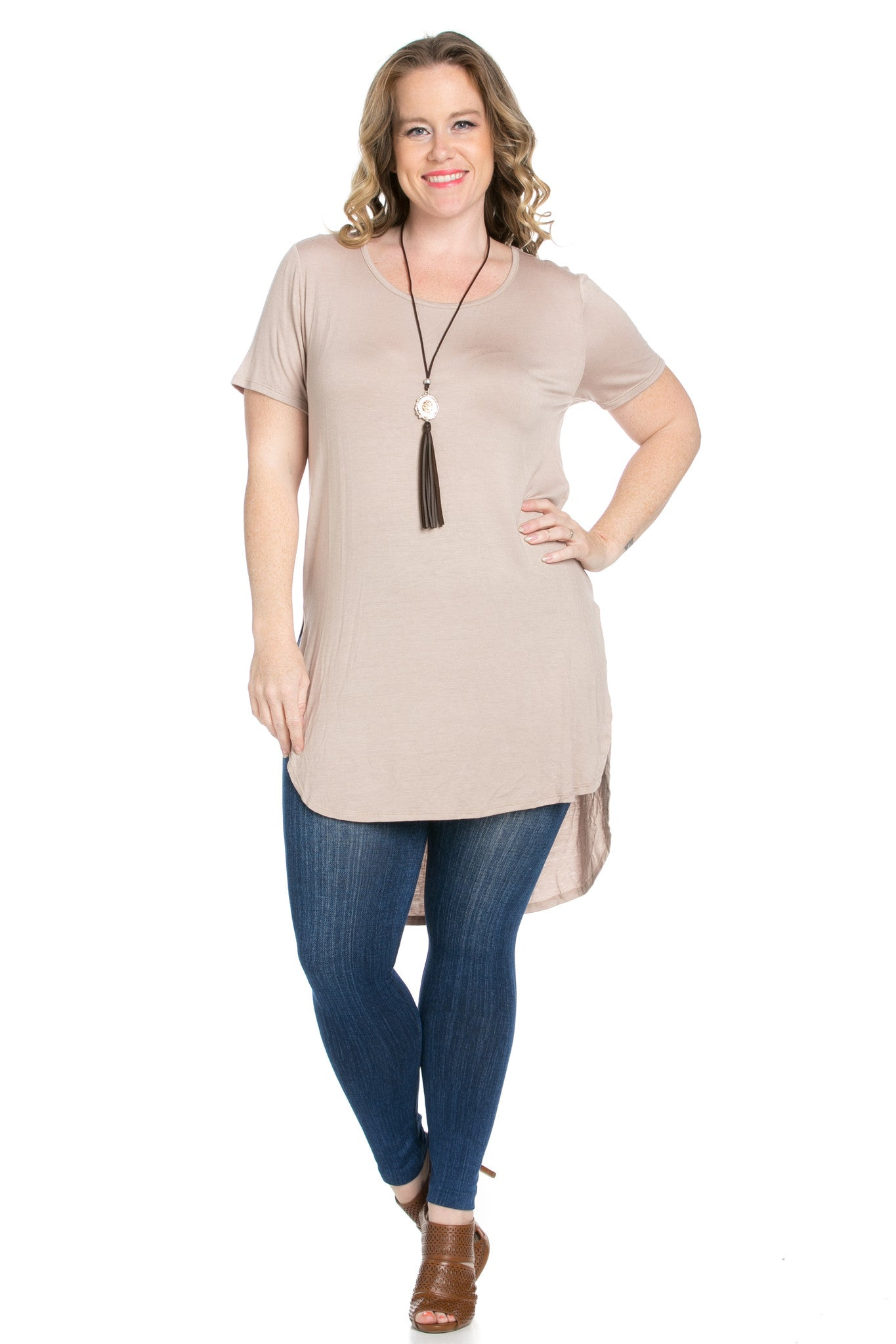 Mocha Plus Size High-low Scoop Neck Shirt - Blouses - My Yuccie - 7