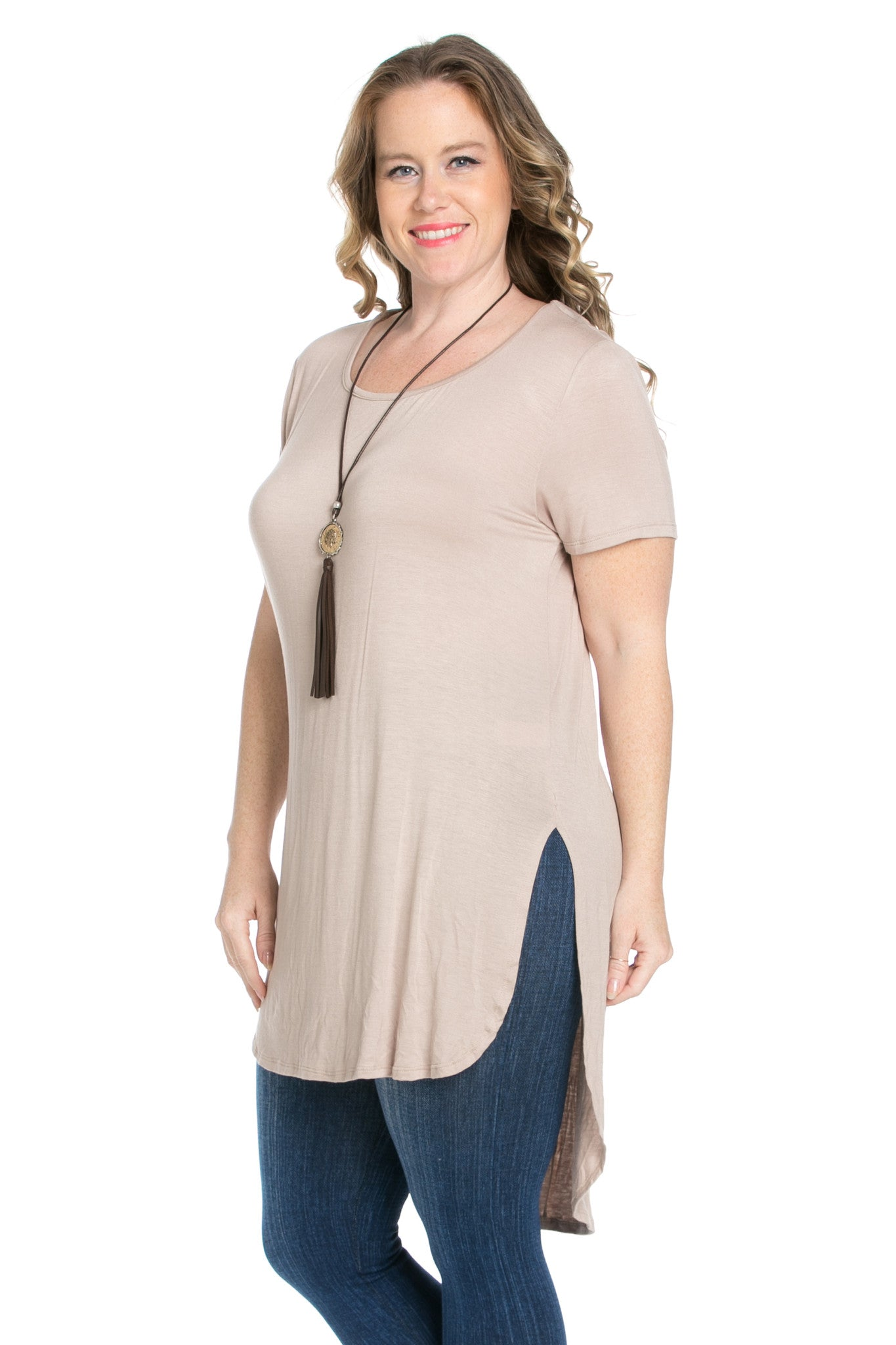 Mocha Plus Size High-low Scoop Neck Shirt - Blouses - My Yuccie - 6