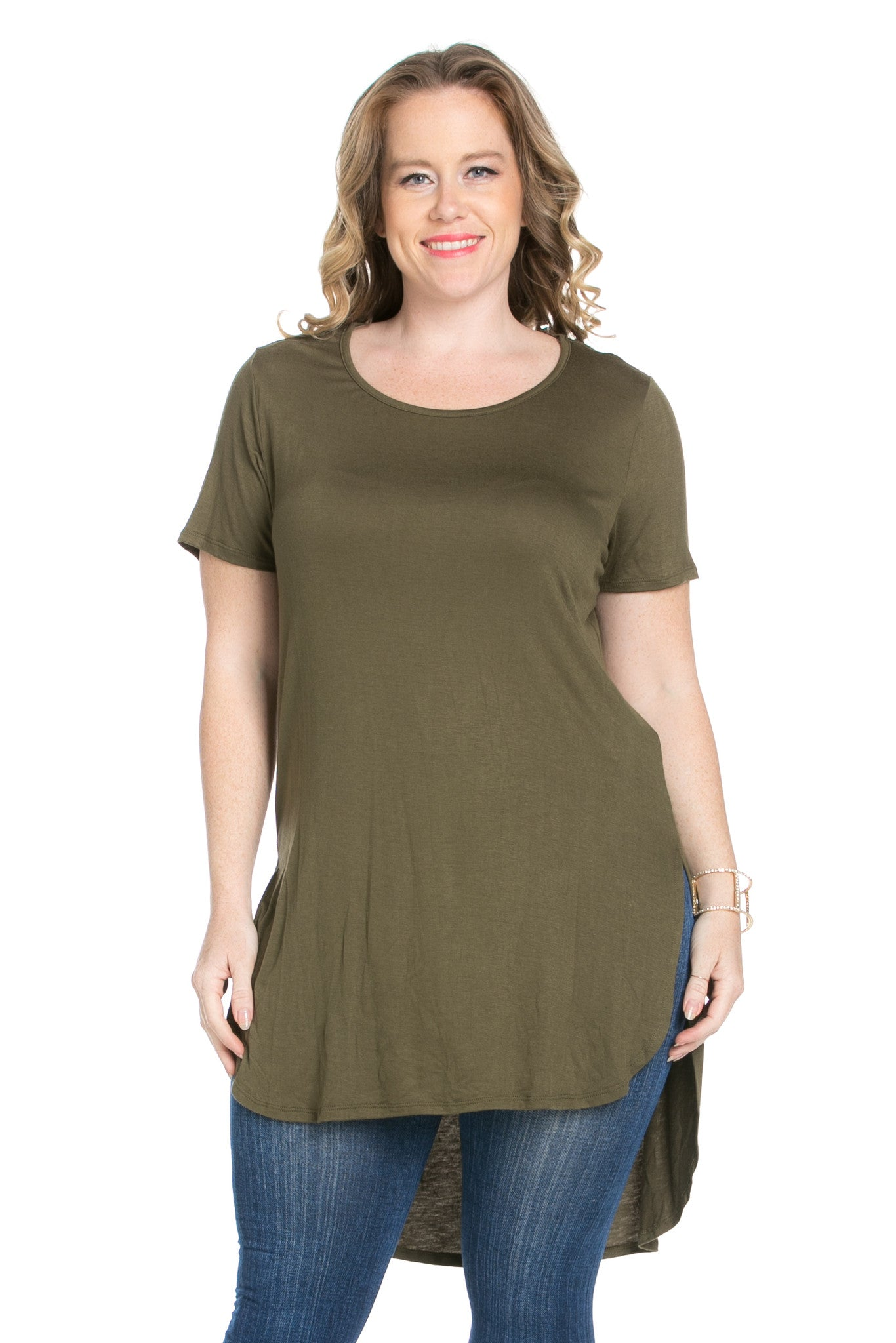 Olive Plus Size High-low Scoop Neck Shirt - Blouses - My Yuccie - 7